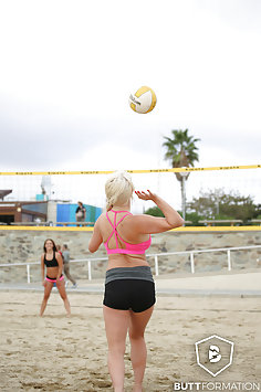 Stella Cox, Cathy Heaven, Sienna Day & Amirah Adara play beach volleyball | Butt Formation - image
