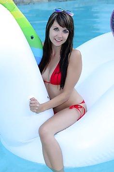 Andi Land in pool - image