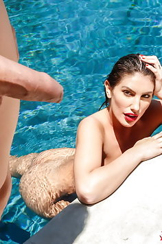 August Ames outdoor pool sex | Digital Playground - image
