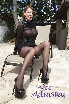 Miss Adrastea in silky nylons - image