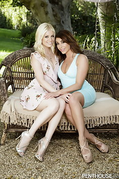 Charlotte Stokely & Christiana Cinn outdoor lesbian sex | Penthouse - image
