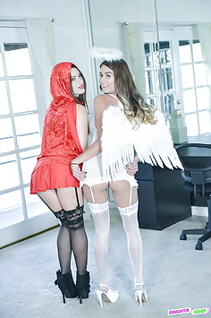 Lacey Channing & Pamela Morrison fuck each other's dad on Halloween | Daughter Swap - image