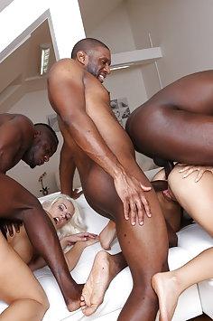 Blanche Bradburry & Ninel Mojado interracial double anal gangbang | LegalPorno - image