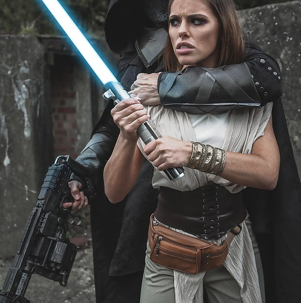 Jedi knight Adriana Chechik gangbanged by 3 Sith Lords in Star Wars porn parody