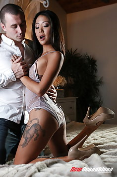 Saya Song interracial with James Deen | NewSensations - image