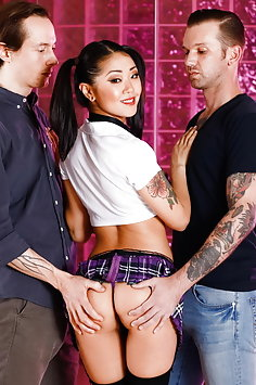 Saya Song interracial double penetration threesome | BurningAngel - image