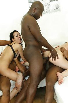 Luna Rival & Francys Belle interracial double anal penetration gangbang with BBC   LegalPorno
