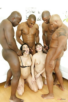 Luna Rival & Francys Belle interracial double anal penetration gangbang with BBC | LegalPorno - image