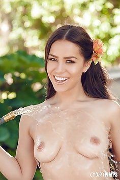 Latina Alina Lopez gets wet with water hose | CherryPimps - image