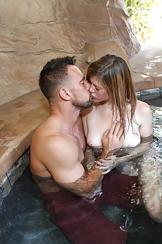 Redhead teen Mia Collins fucks stepdad in pool grotto | SpyFam - image