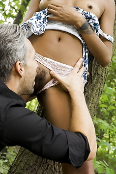 Luna Corazon gets oral from white guy in forest | SexyHub: Dane Jones - image