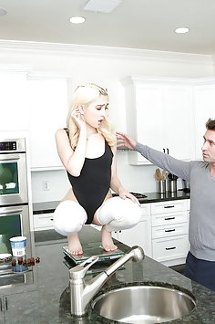 James Deen fucks blonde teen Jane Wilde in kitchen | Pimp.XXX Petite - image