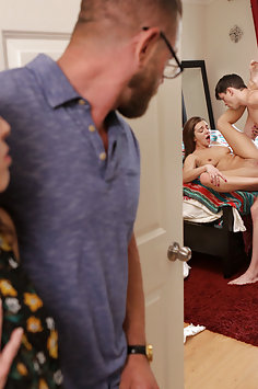 Parents catch stepsister Tiffany Watson getting creampie | Nubiles Porn: My Family Pies - image