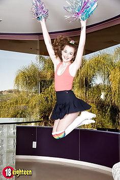 Pervy cheerleader Danni Rivers strips naked | 18eighteen - image