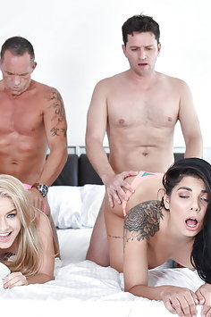 Teens Gina Valentina & Lilly Ford fuck each others dad| DaughterSwap - image