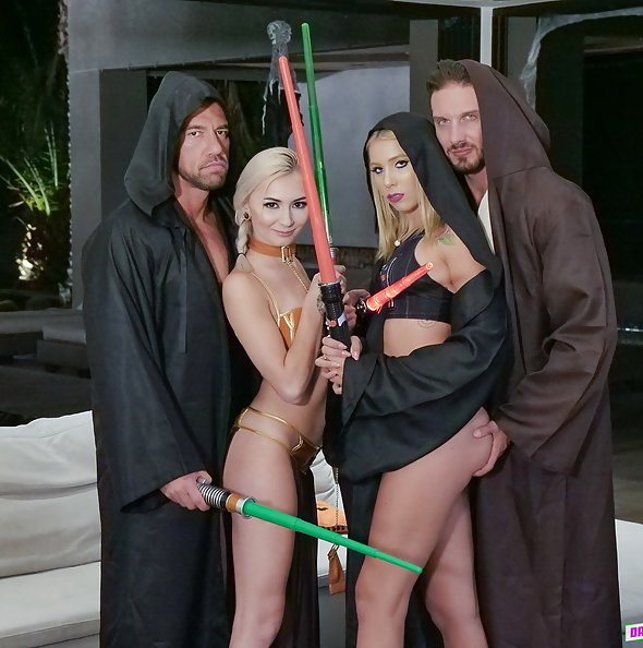 Chanel Grey & Chloe Temple in Star Wars sex party | DaughterSwap
