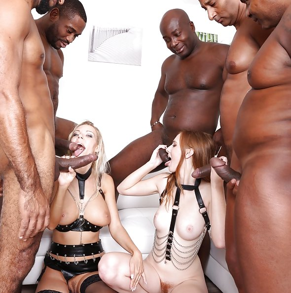 Linda Sweet & Florane Russell interracial double anal gangbang with 5 BBC | LegalPorno