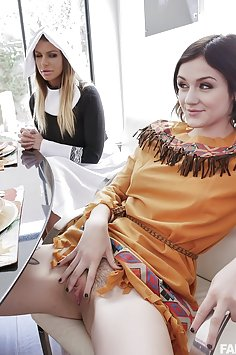 Brooklyn Chase & Rosalyn Sphinx fuck during Thanksgiving dinner | FamilyStrokes