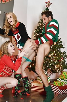 Stepsisters Britney Light & Mazzy Grace fuck stepbrother on X-mas | TeamSkeet: Step Siblings