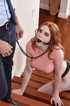 Busty redhead Scarlett Snow on leash & ball gagged gets fucked | Submissived