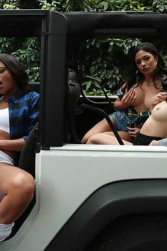 Vienna Black, Sofie Reyez & Serena Santos lesbian car threeway | RealityKings: We Live Together - image