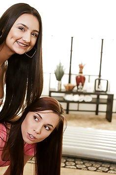 Eliza Ibarra tries out nuru gel during lesbian sex with Aidra Fox | FantasyMassage: All Girl Massage - image