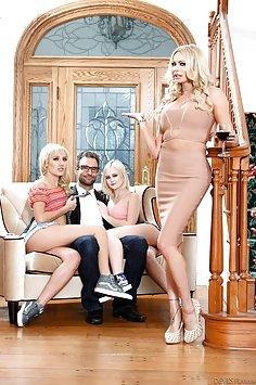 Blonde nymphomaniacs Briana Banks & Natalia Queen share cock | DevilsFilm - image