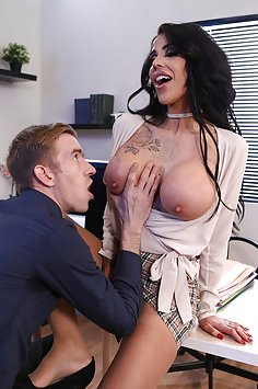 Alice Judge in ripped pantyhose fucks at office | Brazzers: Big Tits At Work - image