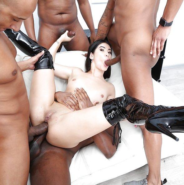 Lady Dee interracial double anal penetration gangbang | LegalPorno