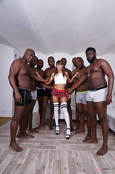 Silvia Dellai anal, DP & DAP interracial gangbang with 8 BBC | LegalPorno - image