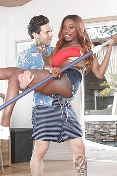 Busty ebony Kinsley Karter interracial fuck with pool boy | Pimp XXX Confessions - image