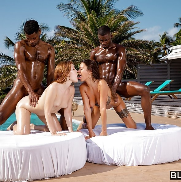 Liya Silver & Jia Lissa interracial foursome on vacation | Blacked
