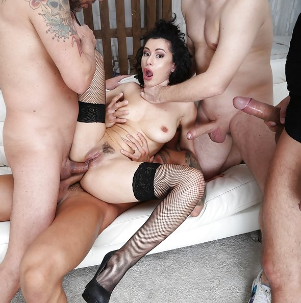 Stacy Bloom manhandled in double anal gangbang | LegalPorno
